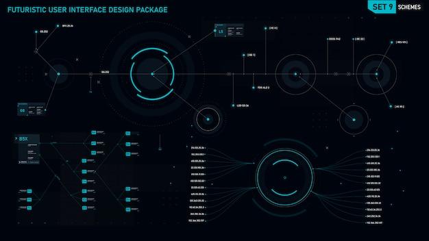 Футуристический элемент пользовательского интерфейса Premium векторы