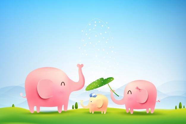Семья слонов гуляет в лесу Premium векторы