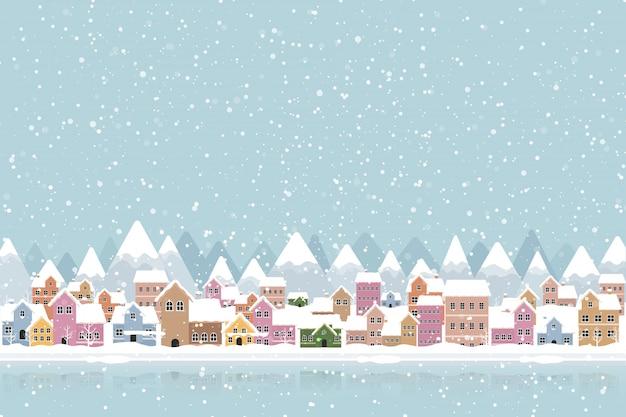 Зимний город плоский стиль с снегопада и горы Premium векторы