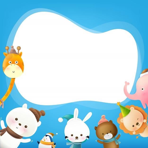スピーチの泡と動物漫画 Premiumベクター