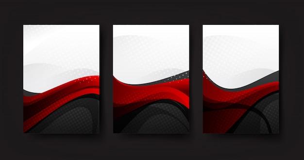 曲線波赤灰色と白の背景の抽象的な背景コレクション Premiumベクター