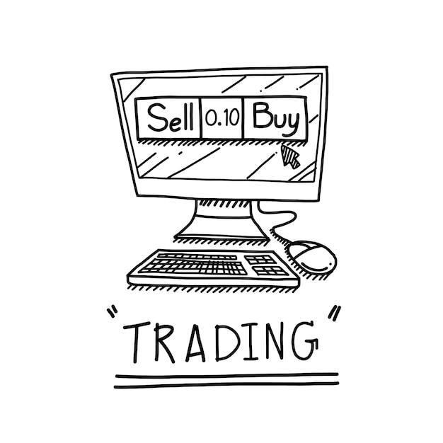 Ручной розыгрыш компьютера с концепцией торгового бизнеса Premium векторы