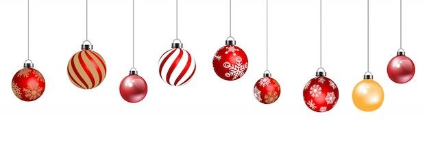白い背景で隔離の装飾のためのクリスマスボール Premiumベクター