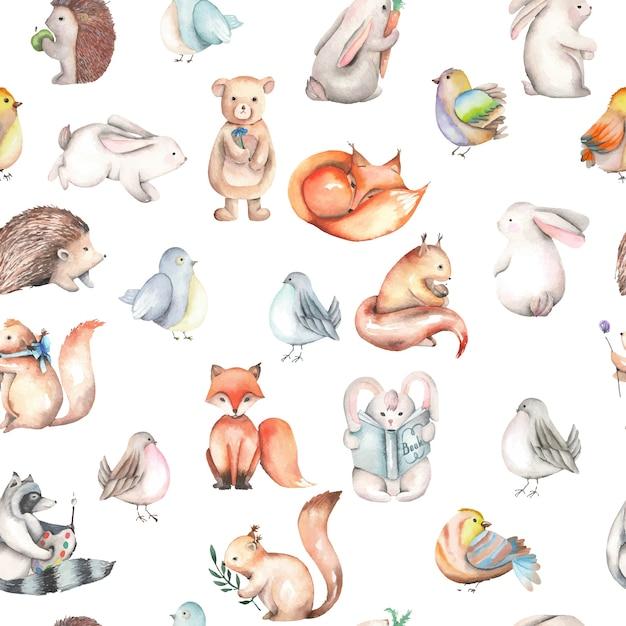 水彩画のかわいい森の動物とシームレスなパターン Premiumベクター