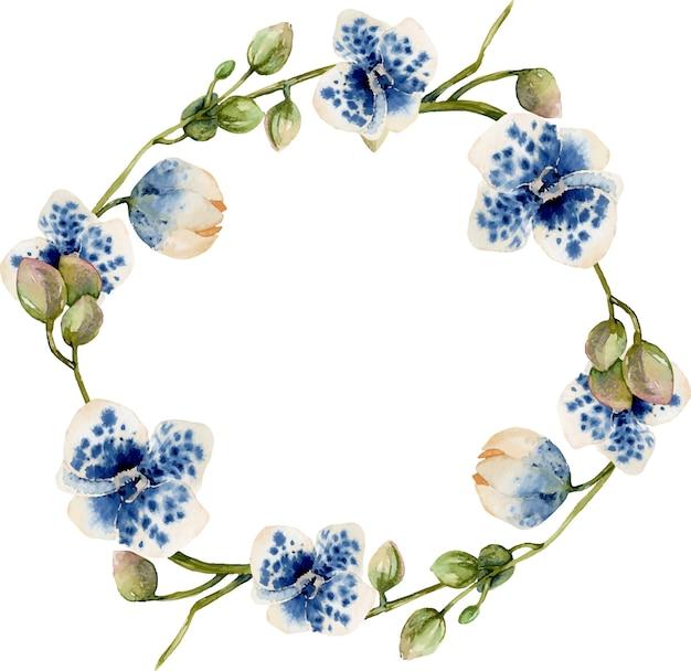 水彩ブルーの斑点を付けられた蘭の花輪 Premiumベクター
