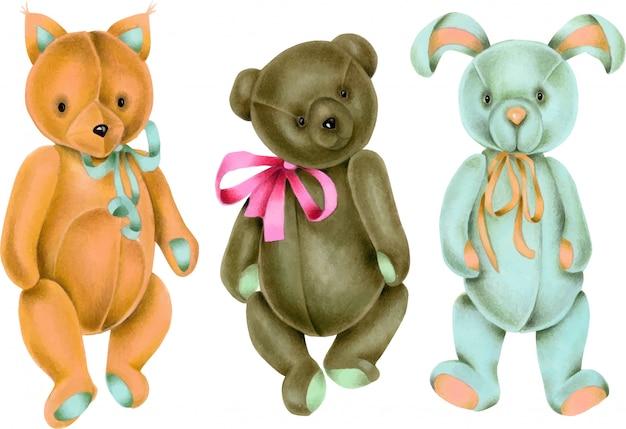 手描きヴィンテージソフトぬいぐるみ(キツネ、ウサギ、クマ)のコレクション Premiumベクター