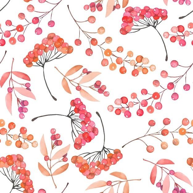 Бесшовные с акварельными красными и оранжевыми ягодами Premium векторы