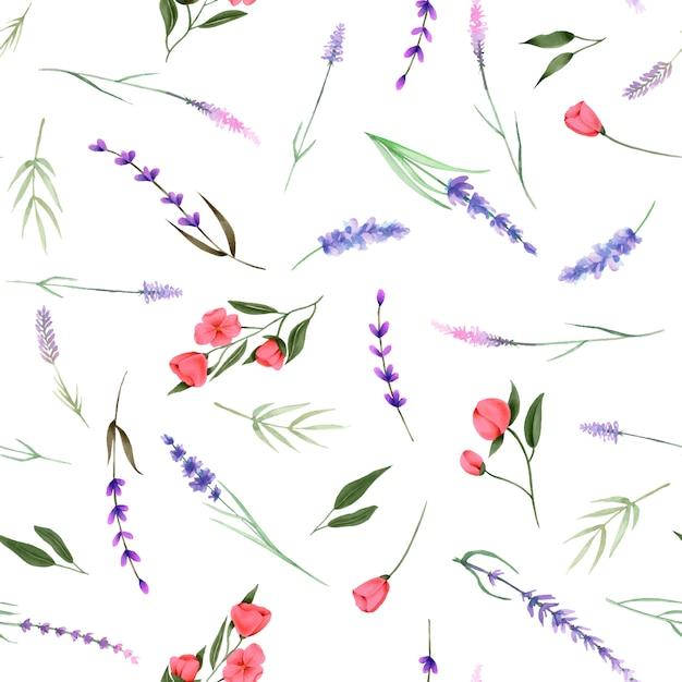 シームレスパターン、水彩画の野生の花の飾り Premiumベクター