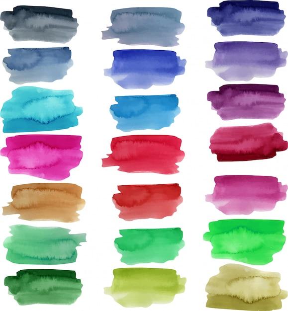 Коллекция акварельных штрихов, яркие цветные элементы Premium векторы