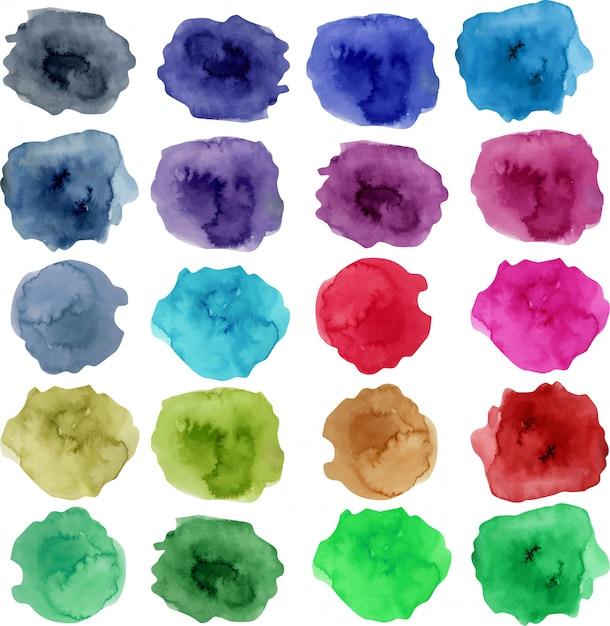 Коллекция акварельных пятен, яркие цветные элементы Premium векторы