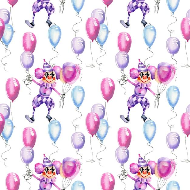 気球のシームレスなパターンを持つ水彩サーカスピエロ Premiumベクター