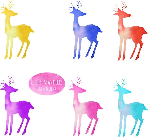 水彩のカラフルな鹿のシルエットのコレクション Premiumベクター