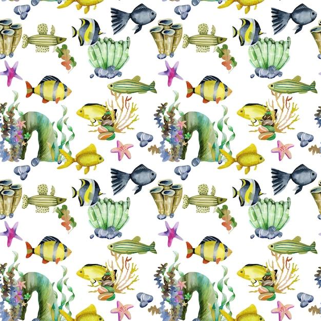 水彩の金魚と他の魚のシームレスパターン Premiumベクター