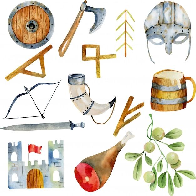 バイキング文化の水彩画の要素 Premiumベクター