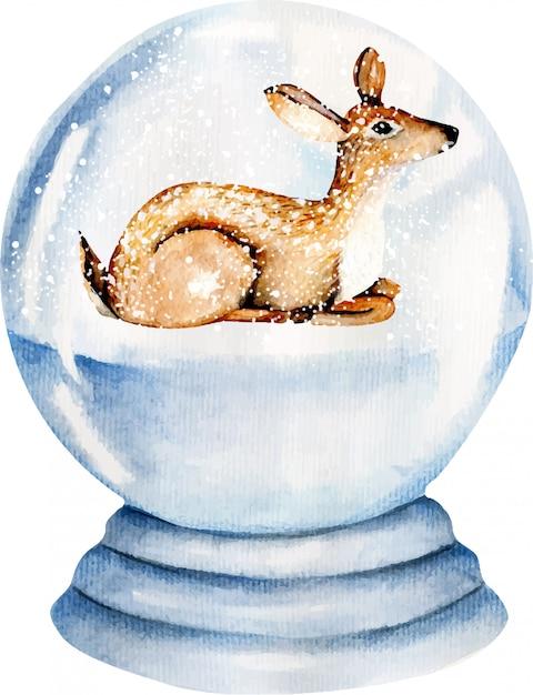 雪に覆われたガラス玉の中のかわいい水彩画鹿 Premiumベクター