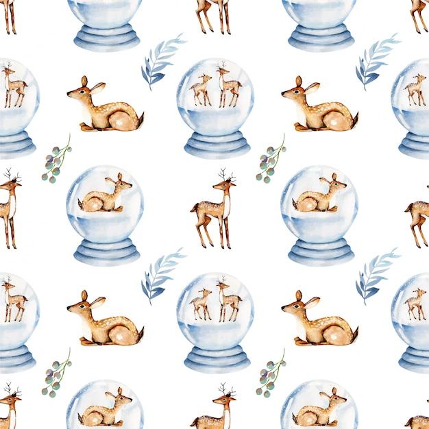 水彩のクリスマス鹿のシームレスパターン Premiumベクター