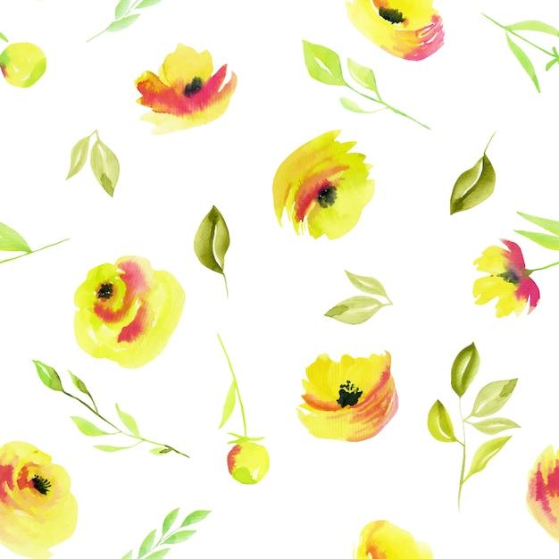 水彩の黄色いバラと緑の枝のシームレスパターン Premiumベクター