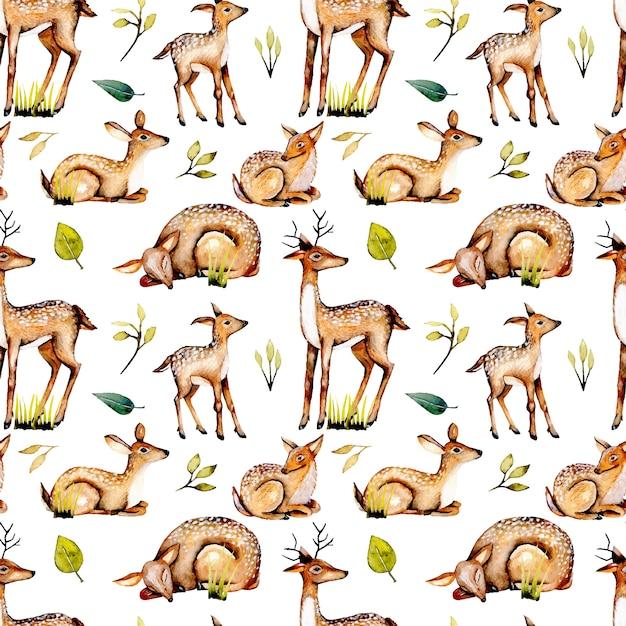 水彩鹿、赤ちゃん鹿、花の要素とのシームレスなパターン Premiumベクター