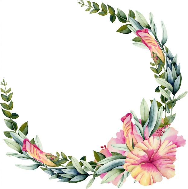水彩のハイビスカスの花、緑の枝と葉の花輪 Premiumベクター