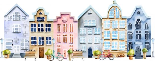 水彩のスカンジナビアの家の通りのイラスト Premiumベクター