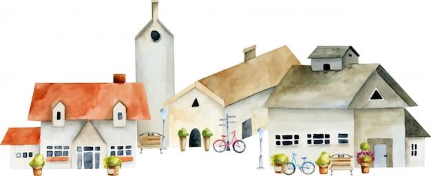 水彩ヨーロッパ古代家、旧市街の通りのイラスト Premiumベクター