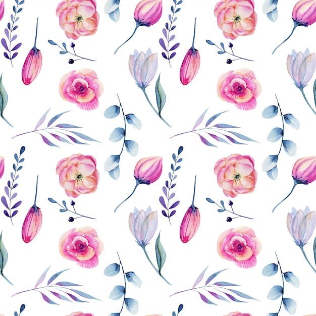 水彩のピンクの牡丹と青い枝のシームレスパターン Premiumベクター