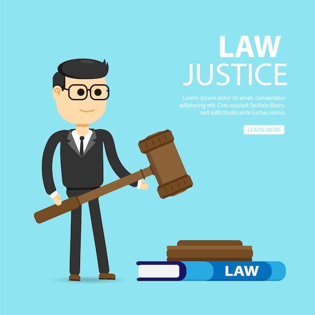 法律、弁護士、ビジネス。正義と法の概念。 Premiumベクター