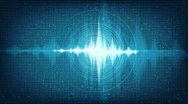 ハイテクデジタル音波低と高さの背景 Premiumベクター