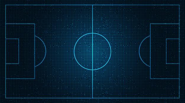 Голубое футбольное поле на фоне цифровых технологий. Premium векторы