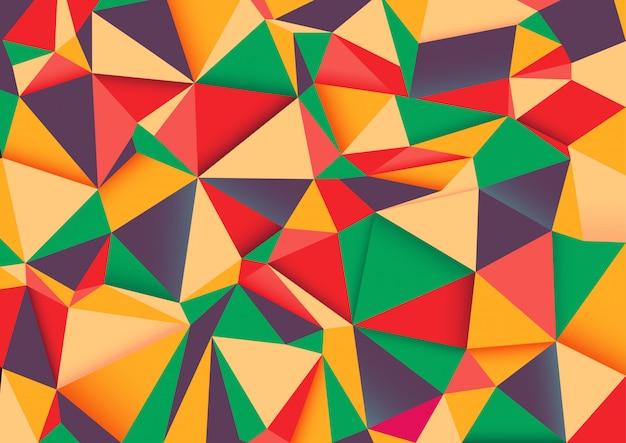 幾何学的しわくちゃの三角形低ポリスタイルグラデーション。 Premiumベクター