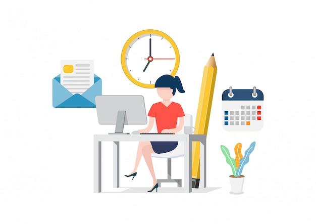 オフィスのコンピューターに座っている女性。 Premiumベクター