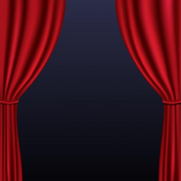 背景に折り畳まれた現実的なカラフルな赤いベルベットのカーテン Premiumベクター