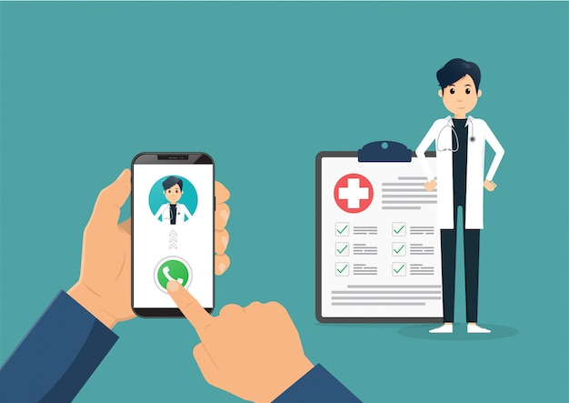 Рука смартфон с мужской доктор по вызову и онлайн-консультации. векторная иллюстрация плоский Premium векторы