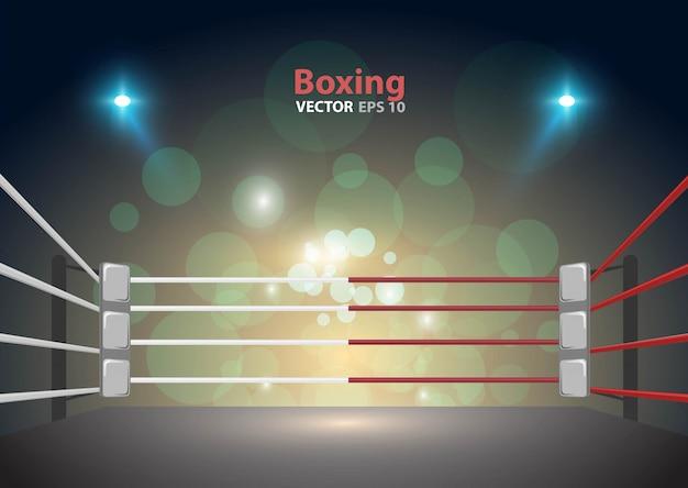 ボクシングのリングアリーナと投光器のベクトルのデザイン明るいスタジアムアリーナは赤青を点灯します。 Premiumベクター