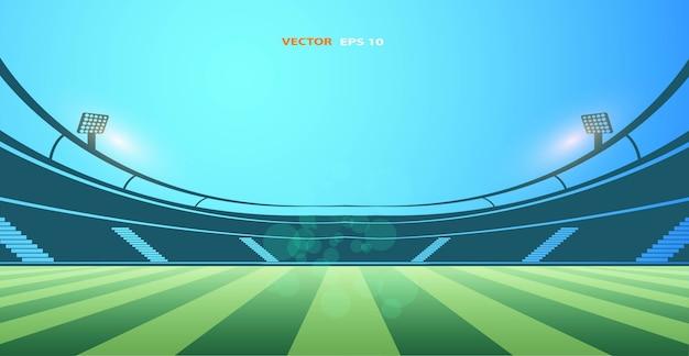 公共の建物。フットボールアリーナスタジアムのベクトル図 Premiumベクター