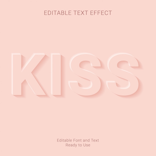 Поцелуй редактируемый текст эффект премиум Premium векторы