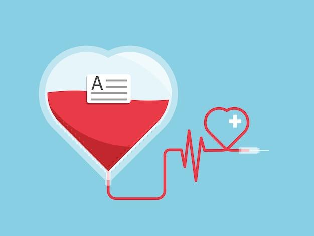 Пакет с кровью в форме сердца Premium векторы