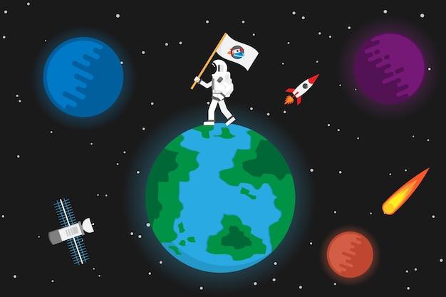 宇宙飛行士と惑星のデザイン。ベクトルとイラスト Premiumベクター