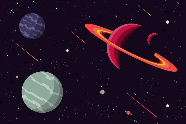 惑星宇宙背景フラットデザイン。ベクトルとイラスト Premiumベクター