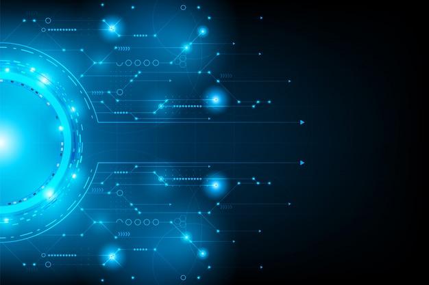 抽象的な未来的な回路。接続ライン回路 Premiumベクター