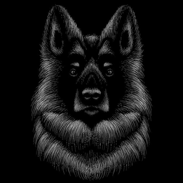 Ручной обращается иллюстрации в меловом стиле собаки Premium векторы