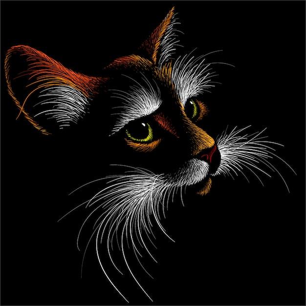 Кот для татуировки или дизайна футболки или верхней одежды. симпатичный принт в стиле кот. Premium векторы