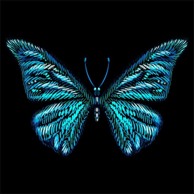 Векторный логотип бабочка для татуировки или футболки или верхней одежды Premium векторы