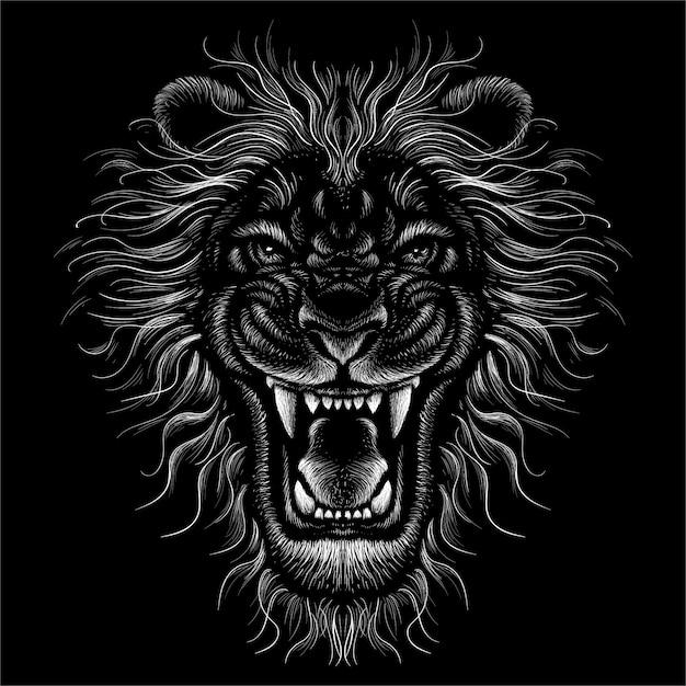 頭のライオンを描きます。 Premiumベクター