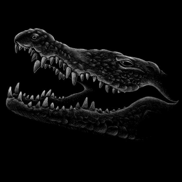 Ручной обращается иллюстрации в меловом стиле крокодила Premium векторы