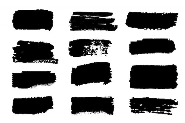ペイントストロークベクターのコレクション。グランジの抽象的な手描きの要素。ブラシで黒と白のストローク。 Premiumベクター