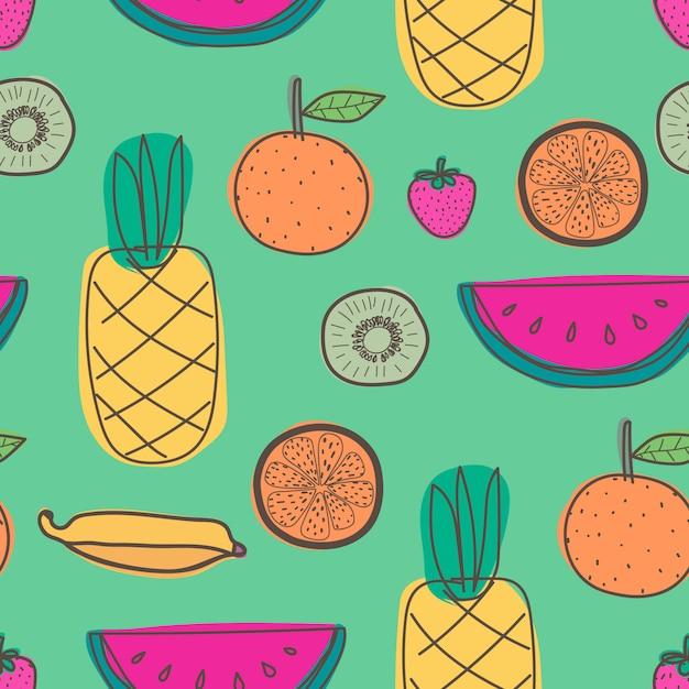 パイナップル、オレンジ、スイカ、キウイ、夏の果物とのシームレスなパターン。 Premiumベクター