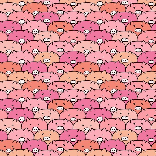 Симпатичные свиньи бесшовные модели. Premium векторы