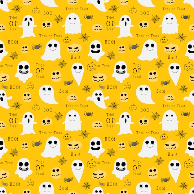 黄色のハロウィーンのシームレスパターン Premiumベクター