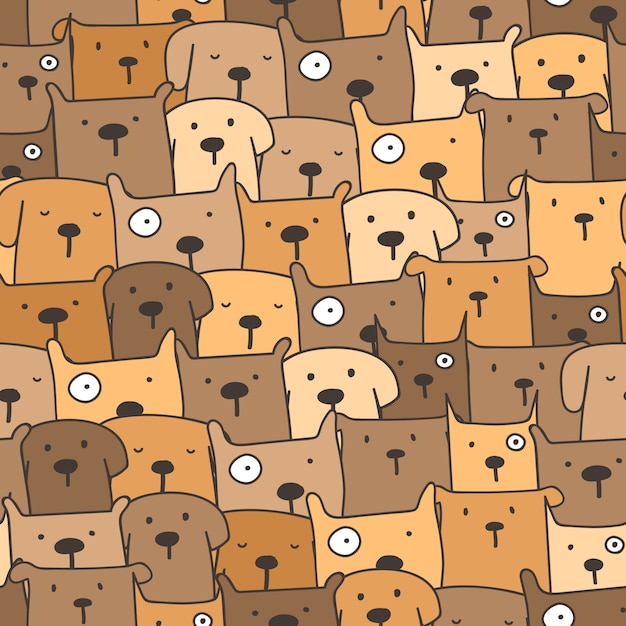 かわいい犬のシームレスなパターン背景 Premiumベクター